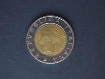 Moneda de la lira italiana 500 (ITL) Imagen de archivo libre de regalías