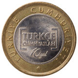 1 moneda de la lira turca, 2012, cara Imagen de archivo libre de regalías