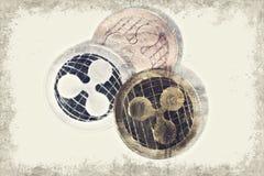 Moneda de la ondulación de XRP en el fondo blanco con el espacio de la copia Arte de Digitaces ilustración del vector