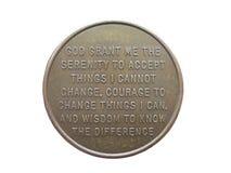 Moneda de la serenidad Imagen de archivo libre de regalías