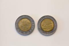 Moneda de las liras de Cinquecento Imágenes de archivo libres de regalías
