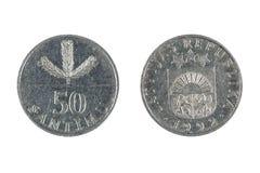 Moneda de Letonia Imagen de archivo libre de regalías