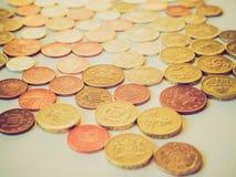 Moneda de libra británica retra de la mirada Imagen de archivo libre de regalías
