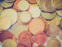 Moneda de libra británica retra de la mirada Fotografía de archivo libre de regalías
