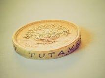 Moneda de libra británica retra de la mirada Imagen de archivo