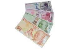 Moneda de los billetes de banco de la lira turca Fotos de archivo libres de regalías