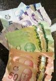 Moneda de los billetes de banco del dólar canadiense imagen de archivo libre de regalías