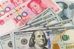 Moneda de los E.E.U.U. China Foto de archivo libre de regalías