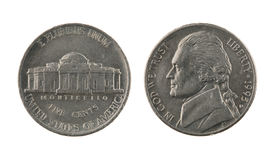 Moneda de níquel de los E.E.U.U. uno aislada en blanco foto de archivo libre de regalías