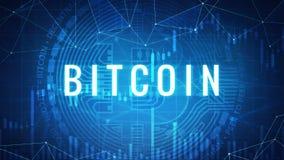 Moneda de neón del bitcoin con la carta de la acción del toro Imagenes de archivo