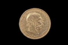Moneda de oro antigua de Austria-Hungría imagenes de archivo