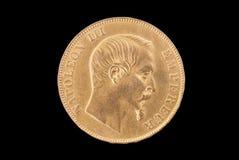 Moneda de oro antigua francesa. 50 francos. Anverso imagen de archivo libre de regalías
