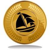 Moneda de oro - barco de vela Foto de archivo libre de regalías