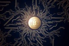 Moneda de oro Bitcoin en un fondo negro El concepto de moneda crypto Tecnología de Blockchain foto de archivo