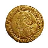 Moneda de oro británica vieja aislada en blanco Imagen de archivo libre de regalías