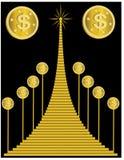 Moneda de oro con el dólar ilustración del vector