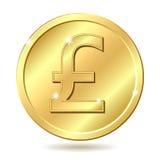 Moneda de oro con la muestra de la libra esterlina Foto de archivo libre de regalías