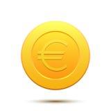 Moneda de oro con símbolo euro Fotografía de archivo libre de regalías
