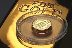Moneda de oro de 1 escudo Foto de archivo