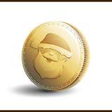 Moneda de oro de la Navidad Imagen de archivo libre de regalías