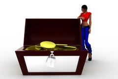 moneda de oro de las mujeres 3d - caja del tesoro Fotografía de archivo
