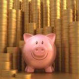 Moneda de oro del ahorro Foto de archivo libre de regalías