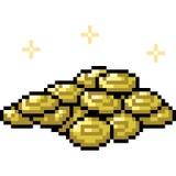 Moneda de oro del arte del pixel del vector ilustración del vector