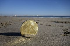 Moneda de oro del bitcoin Fotografía de archivo