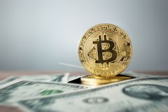 moneda de oro del bitcoin con USD - backgro de la moneda del rcrypto de los E.E.U.U. Dolla Fotos de archivo libres de regalías
