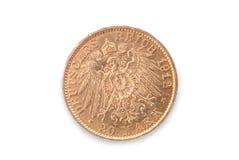 Moneda de oro del imperio de Alemania marca 20 Revés Foto de archivo libre de regalías