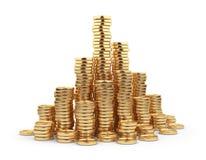 Moneda de oro del montón 3D. Concepto del asunto. en blanco stock de ilustración