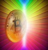Moneda de oro digital del cryptocurrency de Bitcoin imagenes de archivo
