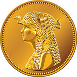 Moneda de oro egipcia que ofrece a Cleopatra Imagen de archivo