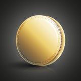 Moneda de oro en blanco Fotografía de archivo
