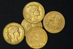 Moneda de oro francesa Imagen de archivo