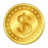 Moneda de oro de la moneda del dólar con las estrellas Ilustración del vector aislada en el fondo blanco Elementos y resplandor E stock de ilustración