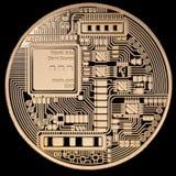 Moneda de oro de la ondulación XRP aislada en fondo negro imagenes de archivo