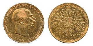 Moneda de oro de las coronas de Austria 100 1915 imagen de archivo libre de regalías