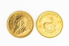 Moneda de oro de 1 onza - una moneda de oro de Krugerrand Fotografía de archivo libre de regalías