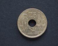 moneda de 25 Pesetas Foto de archivo libre de regalías