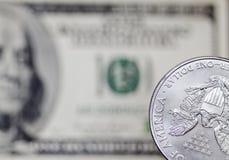Moneda de plata Imagenes de archivo