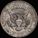 Moneda de plata americana del medio dólar Imagen de archivo libre de regalías