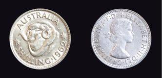 Moneda de plata del chelín de 1962 australianos fotos de archivo libres de regalías