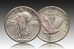 Moneda de plata del dólar cuarto 1918 de Estados Unidos foto de archivo libre de regalías
