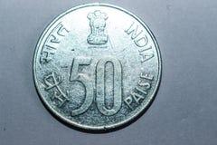 Moneda de plata india del color de 50 paise imagen de archivo libre de regalías