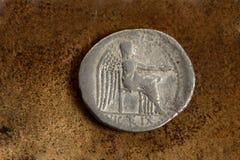 Moneda de plata romana 89 A.C. Imagen de archivo