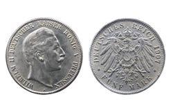 Moneda de plata vieja del Reich alemán fotos de archivo