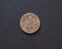 1 moneda de USD de la moneda de diez centavos, Estados Unidos Fotografía de archivo libre de regalías