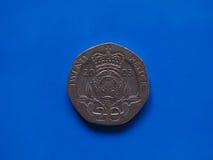 Moneda de veinte peniques, Reino Unido Imagen de archivo libre de regalías
