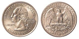 Moneda del americano un cuarto Fotos de archivo